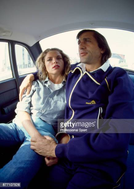 Ilie Nastase of Romania photographed with his girlfriend American actress Alexandra King circa 1981