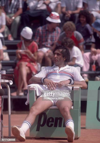 Ilie Nastase of Romania taking a break during the French Open Tennis Championships at the Stade Roland Garros circa June 1982 in Paris France