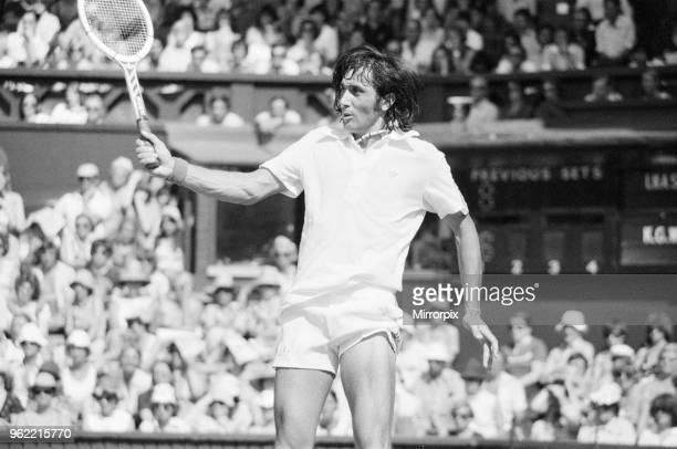 Ilie Nastase, Romanian Tennis Player in action on Centre Court, Wimbledon Tennis Championships, Thursday 24th June 1976.