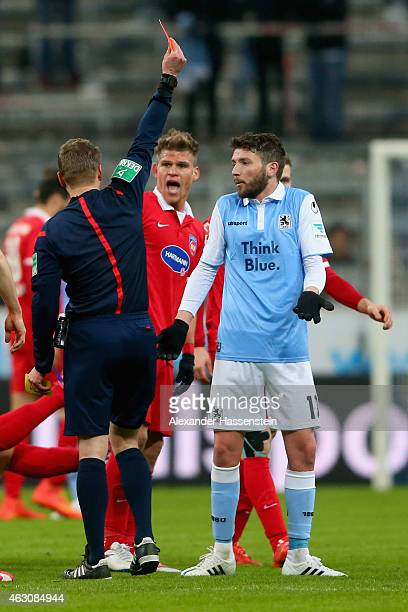 Ilie Sanchez of 1860 Muenchen receives the Red card from referee Patrick Ittrich during the Second Bundesliga match between 1860 Muenchen and 1 FC...