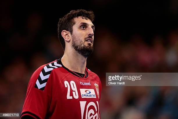 Ilija Abutovic of Serbia gesticulated during the Handball Supercup between Serbia and Slovenia on November 6 2015 in Flensburg Germany