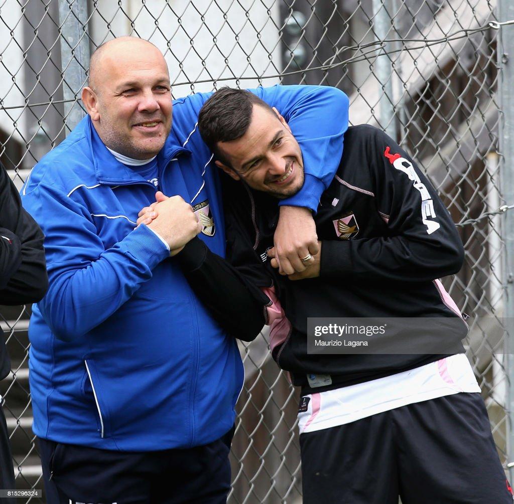 Ilija Nestorovsi and Bruno Tedino of Palermo during pre-season training campo on July 16, 2017 in Bad Kleinkirchheim, Austria.