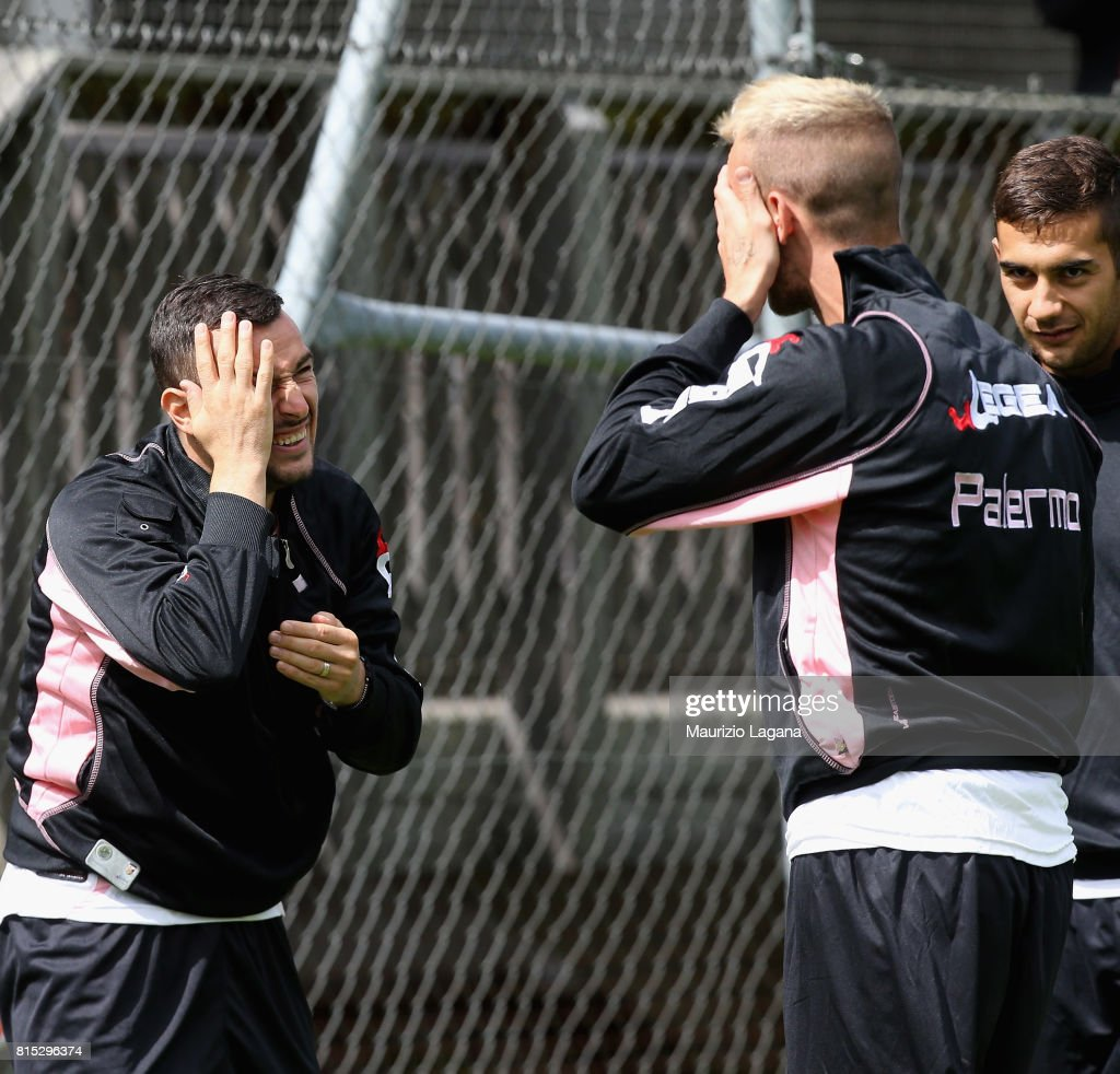 Ilija Nestorovsi () and Iljaz Struna of Palermo during pre-season training campo on July 16, 2017 in Bad Kleinkirchheim, Austria.