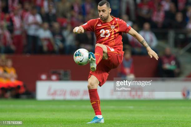 Ilija Nestorovski during the EURO Qualifier match between Poland v FYR Macedonia at the Stadion Narodowy on October 13, 2019 in Warsaw Poland.