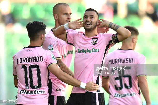 Ilija Nestorovski of Palermo celebrates after scoring his second goal during the Serie B match between US Citta di Palermo and Virtus Entella at...