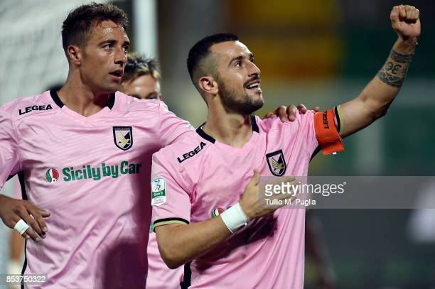 Ilija Nestorovski of Palermo celebrates after scoring his team's second goal during the Serie B match between US Citta di Palermo and Pro Vercelli FC...