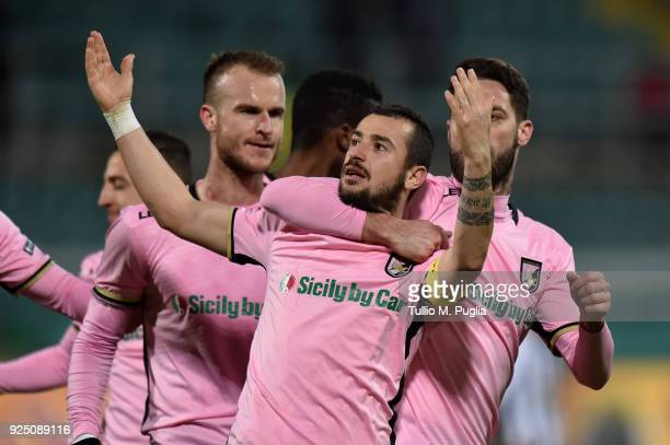 Ilija Nestorovski of Palermo celebrates after scoring his team's fourth goal during the Serie B match between US Citta di Palermo and Ascoli Picchio...