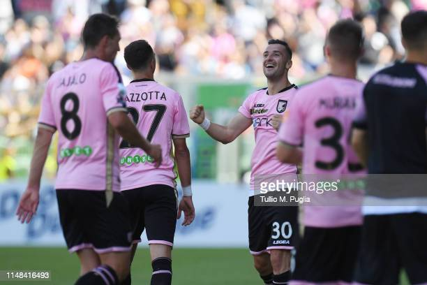 Ilija Nestorovski of Palermo celebrates after scoring the opening goal during the Serie B match between US Citta di Palermo and AS Cittadella at...