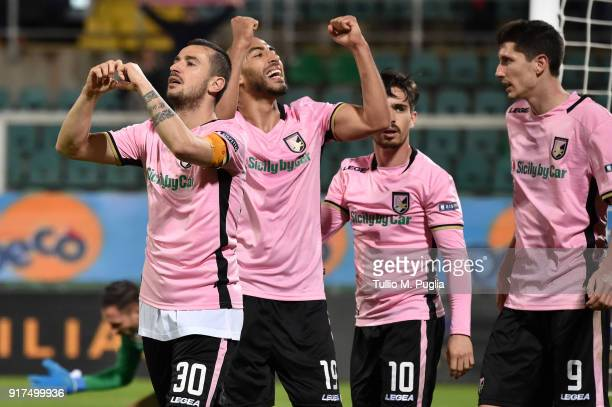Ilija Nestorovski of Palermo celebrates after scoring the opening goal during the Serie B match between US Citta di Palermo and Foggia at Renzo...