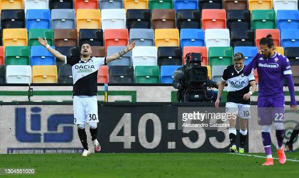 Ilija Nestorovski of Udinese Calcio celebrates after scoring their side's first goal during the Serie A match between Udinese Calcio and ACF...