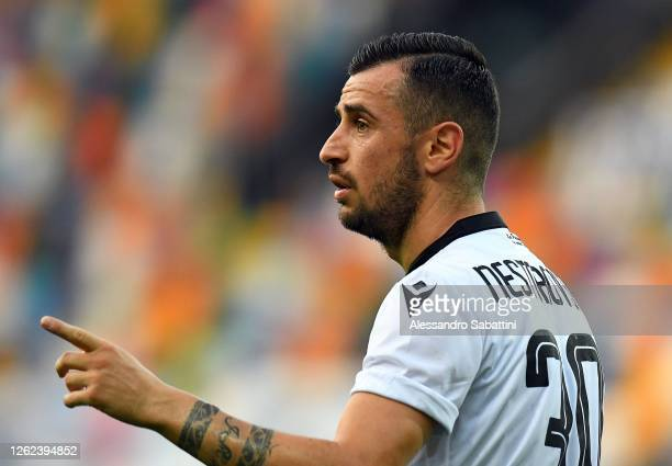 Ilija Nestorovski of Udinese Calcio gestures during the Serie A match between Udinese Calcio and US Lecce at Stadio Friuli on July 29, 2020 in Udine,...
