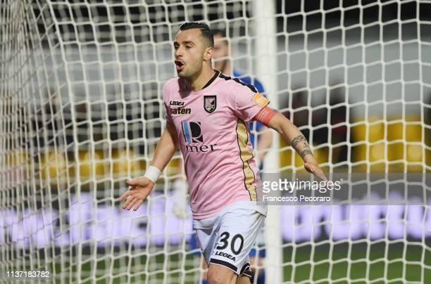 Ilija Nestorovski of US Citta di Palermo celebrates after scoring the 01 goal during the Serie B match between Benevento and US Citta di Palermo at...