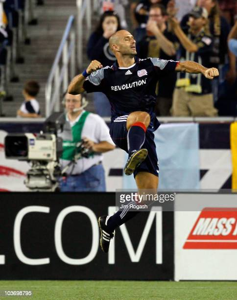 Ilija Stolica of the New England Revolution reacts after scoring a goal against the Philadelphia Union at Gillette Stadium on August 28, 2010 in...
