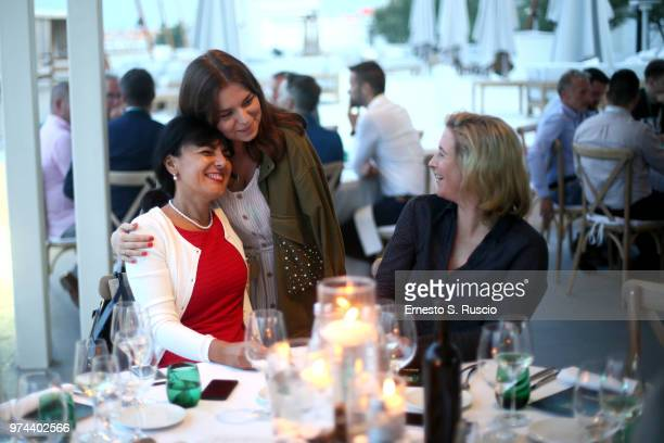 Ilijana Vavan Maria Avanesova and Claudia Pechstein attend during the Gala Dinnner at the Kaspersky Lab European Reseller Summit 2018 on June 12 2018...