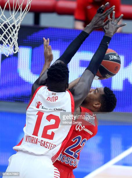 Ilimane Diop #12 of Baskonia Vitoria Gasteiz blocks Cory Higgins #22 of CSKA Moscow during the 2017/2018 Turkish Airlines EuroLeague Regular Season...