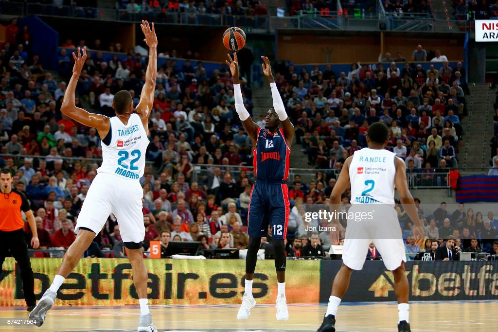 Ilimane Diop, #12 of Baskonia Vitoria Gasteiz in action during the 2017/2018 Turkish Airlines EuroLeague Regular Season Round 7 game between Baskonia Vitoria Gasteiz and Real Madrid at Fernando Buesa Arena on November 14, 2017 in Vitoria-Gasteiz, Spain.