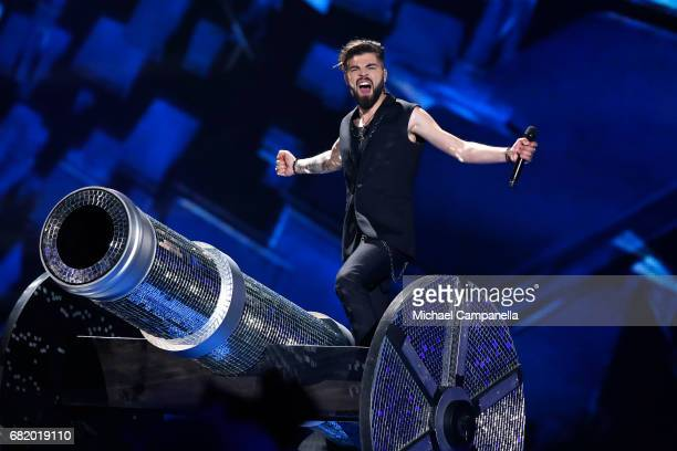Ilinca and Alex Florea representing Romania perform the song 'Yodel It' during the second semi final of the 62nd Eurovision Song Contest at...
