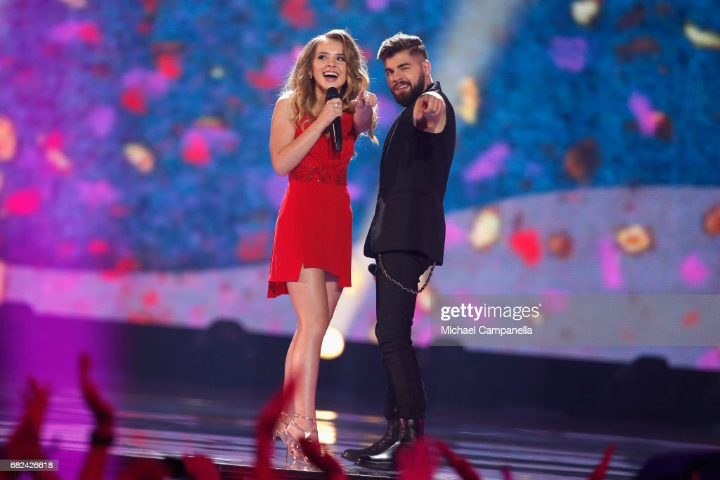 Ilinca and Alex Florea, representing Romania, perform the song 'Yodel It!' during the rehearsal for ''The final of this year's Eurovision Song Contest'' at International Exhibition Centre (IEC) on May 12, 2017 in Kiev, Ukraine. The final of this years Eurovision Song Contest will be aired on May 13, 2017.