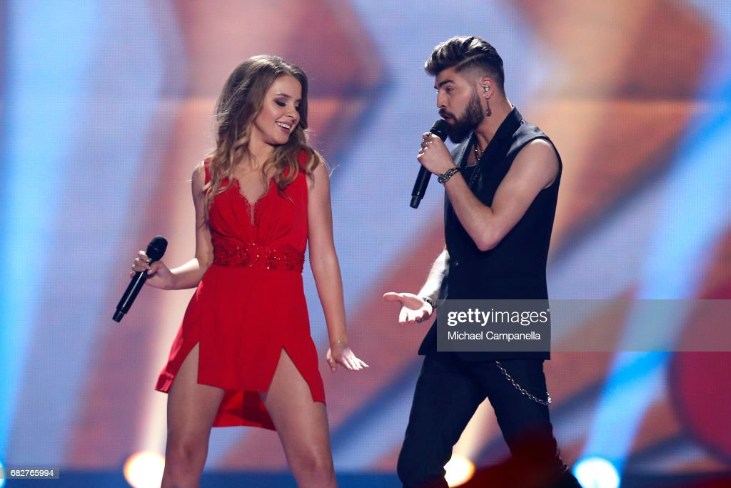 Ilinca and Alex Florea, representing Romania, perform the song 'Yodel It!' during the final of the 62nd Eurovision Song Contest at International Exhibition Centre (IEC) on May 13, 2017 in Kiev, Ukraine.