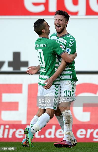 Ilir Azemi of Fuerth celebrates with Nikola Djurdjic of Fuerth after scoring the opening goal during the second Bundesliga match between Greuther...