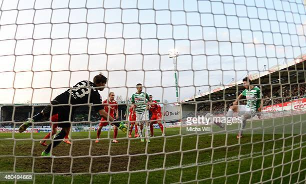 Ilir Azemi of Fuerth scores the opening goal during the second Bundesliga match between Greuther Fuerth and Fortuna Duesseldorf at Trolli-Arena on...