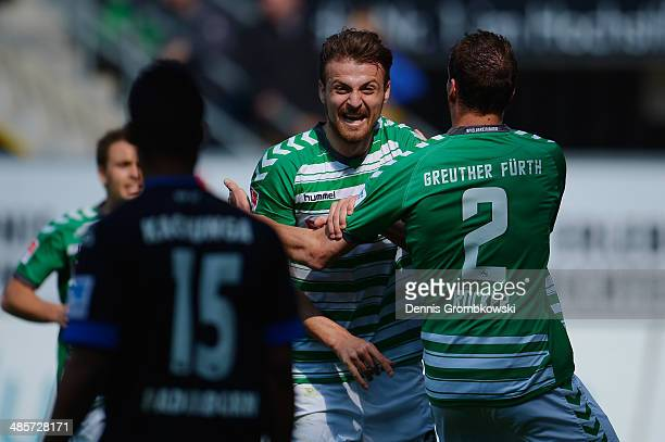 Ilir Azemi of Greuther Fuerth celebrates scoring his team's second goal during the Second Bundesliga match between SC Paderborn and Greuther Fuerth...