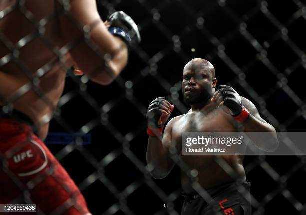 Ilir Latifi and Derrick Lewis in their Heavyweight bout during UFC 247 at Toyota Center on February 08, 2020 in Houston, Texas.