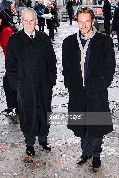 Ilja Richter and Thure Riefenstein attend the Wolfgang Rademann memorial service on February 11 2016 in Berlin Germany