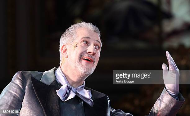 "Ilja Richter performs during the dress rehearsal for the play ""Jedermann"" by author Hugo von Hoffmannsthal at the Berlin Cathedral on October 14,..."