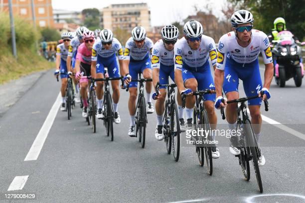 Iljo Keisse of Belgium and Team Deceuninck - Quick-Step / Davide Ballerini of Italy and Team Deceuninck - Quick-Step / Alvaro Jose Hodeg Chagui of...