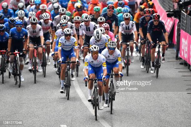 Iljo Keisse of Belgium and Team Deceuninck - Quick-Step / Davide Ballerini of Italy and Team Deceuninck - Quick-Step / Peloton / Detail view / during...