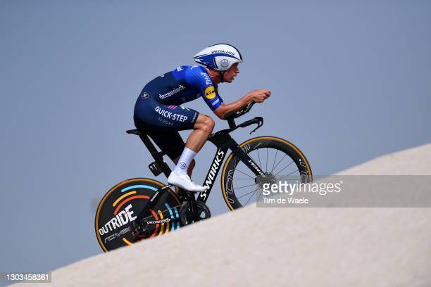 Iljo Keisse of Belgium and Team Deceuninck - Quick-Step during the 3rd UAE Tour 2021, Stage 2 a 13km Individual Time Trial from Al Hudayriyat Island...
