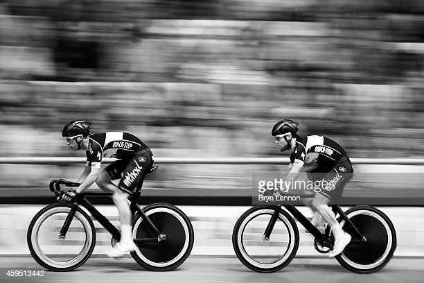 Iljo Keisse of Belgium leads team mate Mark Cavendish of Great Britain and Omega PharmaQuickStep during a Team Elimination race day six of the Ghent...