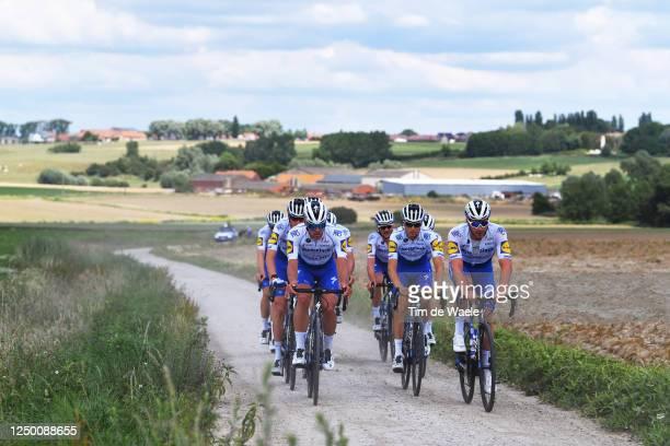 Iljo Keisse of Belgium, Yves Lampaert of Belgium & Florian Sénéchal of France and Team Deceuninck - Quick-Step / Ploegsteerts / Gravel Strokes /...
