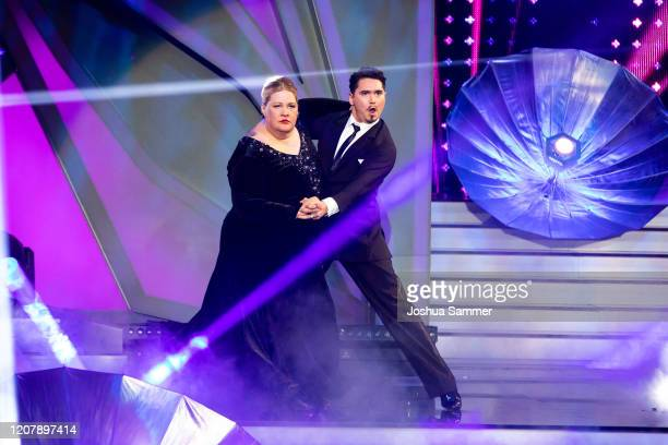 """Ilka Bessin performs on stage during the pre-show """"Wer tanzt mit wem? Die grosse Kennenlernshow"""" of the television competition """"Let's Dance"""" on..."""