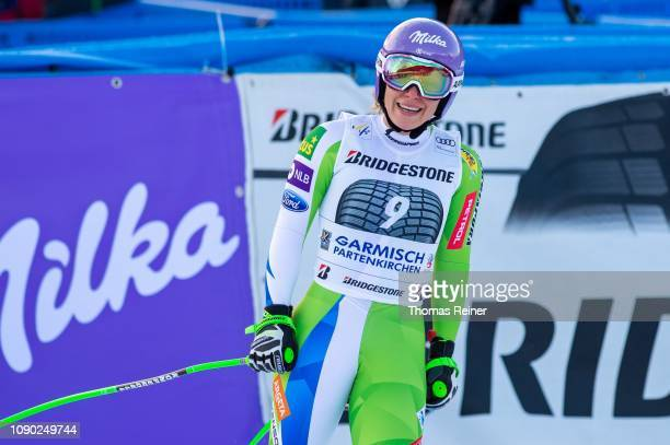 Ilka Stuhec of Slovenia competes at Audi FIS Alpine Ski World Cup - Women's Downhill on January 27, 2019 in Garmisch-Partenkirchen, Germany.