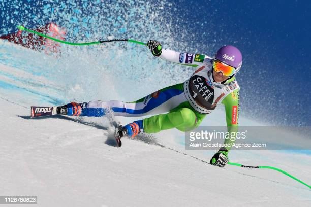 Ilka Stuhec of Slovenia competes during the Audi FIS Alpine Ski World Cup Women's Downhill on February 23, 2019 in Crans Montana Switzerland.