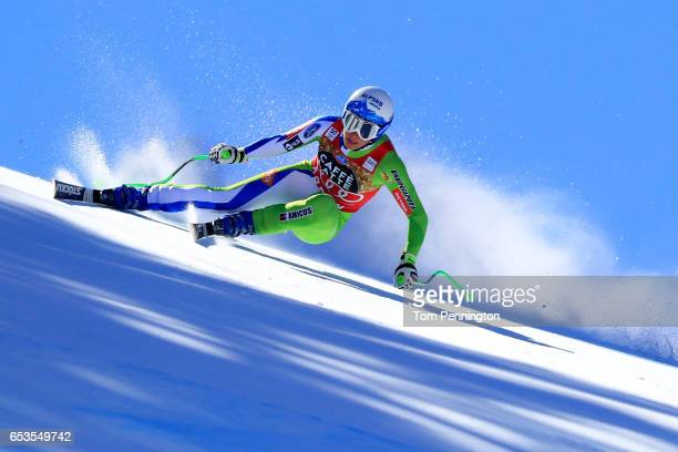 Ilka Stuhec of Slovenia competes in the Ladies's Downhill for the 2017 Audi FIS Ski World Cup Final at Aspen Mountain on March 15 2017 in Aspen...