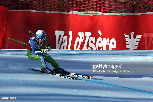 Ilka Stuhec of Slovenia in action during the Audi FIS Alpine Ski World Cup Women's Downhill Training on December 15 2016 in Vald'Isere France