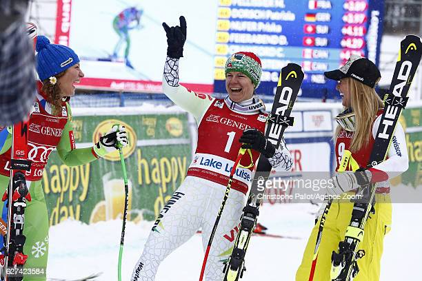 Ilka Stuhec of Slovenia takes 1st place Lara Gut of Switzerland takes 2nd place Edit Miklos of Hungary takes 3rd place during the Audi FIS Alpine Ski...