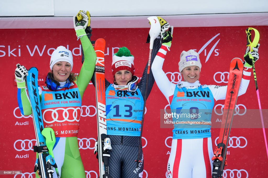 Ilka Stuhec of Slovenia takes 2nd place, Federica Brignone of Italy takes 1st place, Michaela Kirchgasser of Austria takes 3rd place during the Audi FIS Alpine Ski World Cup Women's Alpine Combined on February 24, 2017 in Crans Montana, Switzerland