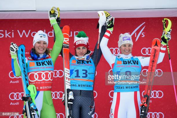 Ilka Stuhec of Slovenia takes 2nd place Federica Brignone of Italy takes 1st place Michaela Kirchgasser of Austria takes 3rd place during the Audi...