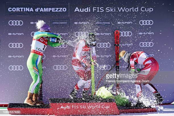 Ilka Stuhec of Slovenia takes 2nd place Ramona Siebenhofer of Austria takes 1st place Stephanie Venier of Austria takes 3rd place during the Audi FIS...