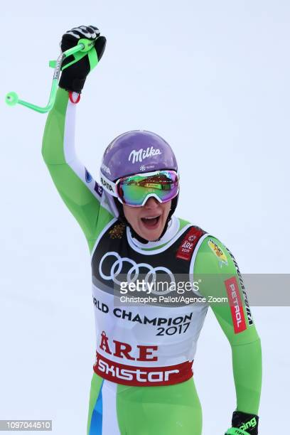 Ilka Stuhec of Slovenia wins the gold medal during the FIS World Ski Championships Women's Downhill on February 10 2019 in Are Sweden