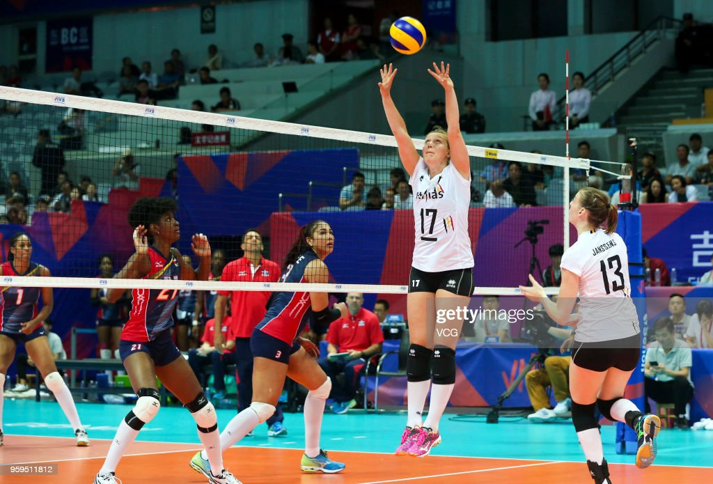 Ilka Van De Vijver #17 of Belgium competes against the Dominican Republic during the FIVB Volleyball Nations League 2018 at Beilun Gymnasium on May 17, 2018 in Ningbo, China.