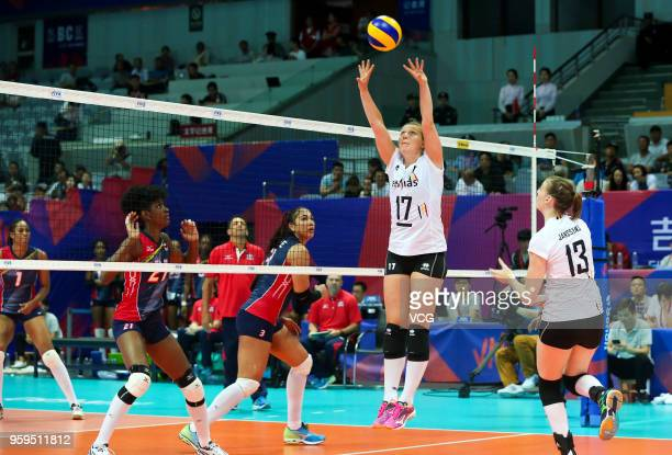 Ilka Van De Vijver of Belgium competes against the Dominican Republic during the FIVB Volleyball Nations League 2018 at Beilun Gymnasium on May 17...