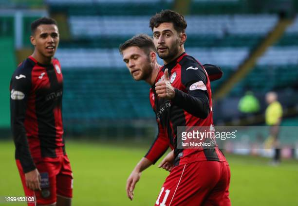 Ilkay Durmus of St Mirren celebrates after scoring their team's second goal during the Ladbrokes Scottish Premiership match between Celtic and St....