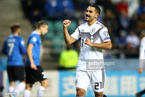 Ilkay Gündogan of Germany celebrates scoring his team's second goal during the UEFA Euro 2020 qualifier between Estonia and Germany on October 13...