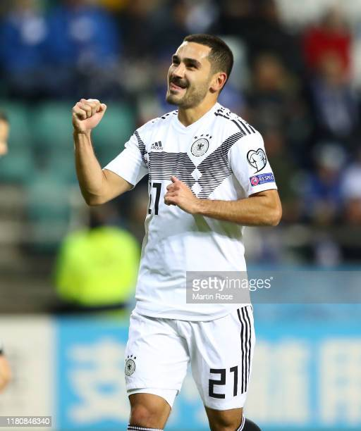 Ilkay Gündogan of Germany celebrates scoring his team's second goal during the UEFA Euro 2020 qualifier between Estonia and Germany on October 13,...