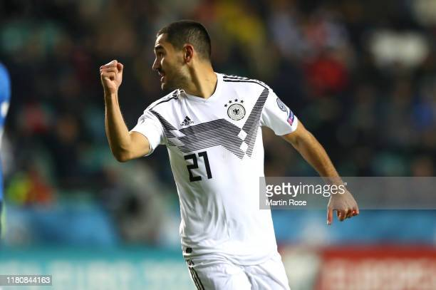Ilkay Gündogan of Germany celebrates scoring the opening goal during the UEFA Euro 2020 qualifier between Estonia and Germany on October 13 2019 in...